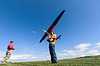 Man launches into sky RC glider   Stock Foto