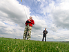 Two Man controls RC gliders | Stock Foto