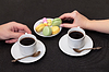 Photo 300 DPI: Couple drinking coffee with macaroon