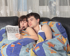 Photo 300 DPI: Young couple solving crossword puzzle