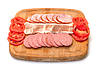 Assorted Slice Sausage, Bacon and Tomato on Cutting | Stock Foto