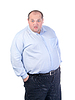Fat Man in a Blue Shirt, Contorts Antics, isolated | Stock Foto