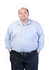 Fat Man in Blue Shirt, Contorts Antics | Stock Foto
