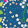Vector clipart: Colorful flowers and butterfly - seamless pattern