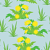 Yellow flowers on blue background - seamless pattern