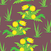 Vector clipart: Yellow flowers on violet background - seamless pattern