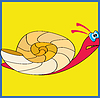 Colorful snail on yellow background
