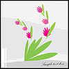 Vector clipart: Decorative flowers on gray background - postcard