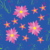Vector clipart: Pink flowers on blue background - seamless pattern