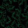 Vector clipart: Decorative green flowers on black background - seamless