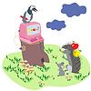 Cartoon Darstellung mit Tieren