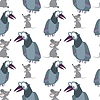 Vector clipart: Funny crow and mouse on white - seamless pattern