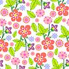 Красочные листья и цветы - бесшовные модели | Векторный клипарт