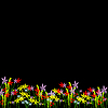 Vector clipart: Flowers on black background