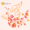 Vector clipart: Floral background with bird