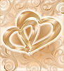 Vector clipart: Two golden hearts, wedding card