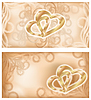 Vector clipart: Set wedding banners with two golden hearts
