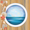 Vector clipart: Porthole window with ocean scene