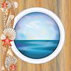 Vector clipart: Porthole window with ocean scene