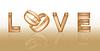 Векторный клипарт: Любовь баннер с двумя обручальными кольцами