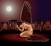 Vector clipart: fallen angel with broken wing.