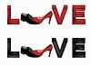 Liebe Banner mit Innen-und Herrenschuhe,