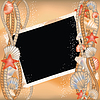 Vector clipart: Photo frame with seashells in style scrapbooking