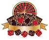 Casino theme with roulette, poker cards