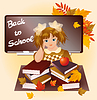 Back to school. Young girl with apple.