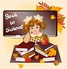 Zurück in der Schule. Junges Mädchen mit Apfel. Vektor