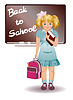 School girl in uniform with schoolbag | Stock Vector Graphics