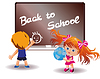 Back to School. Girl and boy in classroom | Stock Vector Graphics