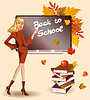 Vector clipart: Back to school. Beautiful teacher and books