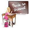 Векторный клипарт: Снова в школу. Красивая школьница. вектор