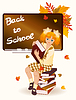 Vector clipart: Back to school. Young schoolgirl with books