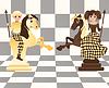 Маленькие белые и черные шахматные кони, вектор