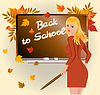 Vector clipart: Back to school. Schoolteacher with pick device.