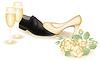 Векторный клипарт: Свадебные туфли и шампанское. векторной иллюстрации
