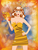 Vector clipart: Autumn beautiful girl