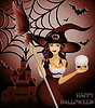Vector clipart: Happy halloween card, sexy witch and skull
