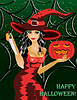 Happy halloween. Beautiful witch with a knife
