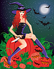 Red-haired witch with a knife sitting on a pumpkin