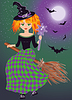 A young witch flying on a broomstick, vector   Stock Vector Graphics