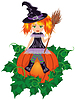 Girl witch with a broom. illustration