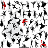 Vector clipart: 50 Silhouettes of ballerinas and dancers in movement