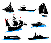 Vector clipart: Silhouettes of offshore ships - yacht, fishing boat