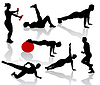 Vector clipart: Silhouettes of exercises people