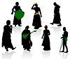 Silhouettes of medieval people | Stock Vector Graphics