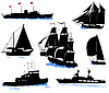 Vector clipart: Silhouettes of offshore ships