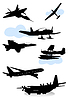 Vector clipart: silhouettes of various airplanes